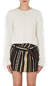Saint Laurent Women's Fringed Mohair-Blend Sweater - Natural