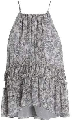 Joie Shawnette Shirred Printed Silk Crepe De Chine Top