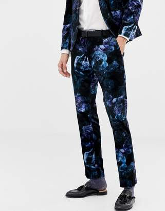 Twisted Tailor super skinny suit pants in printed floral velvet