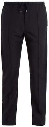 Valentino Pintucked Wool Blend Trousers - Mens - Navy