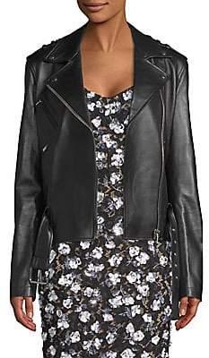 Michael Kors Women's Ruffle Sleeve Leather Moto Jacket
