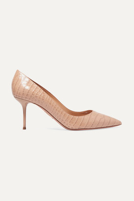 Aquazzura Purist 75 Croc-effect Leather Pumps - Beige
