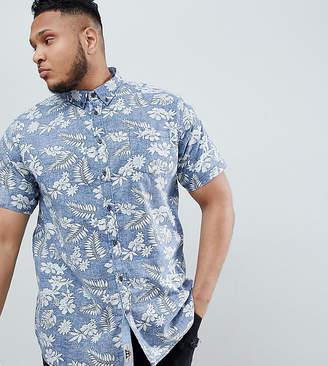 Duke King Size Short Sleeve Shirt In Hawaiian Leaf Print