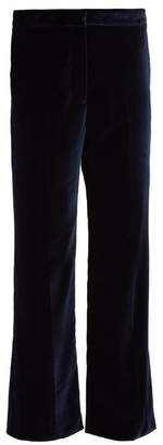 Stella McCartney Kick Flare Cropped Velvet Trousers - Womens - Navy