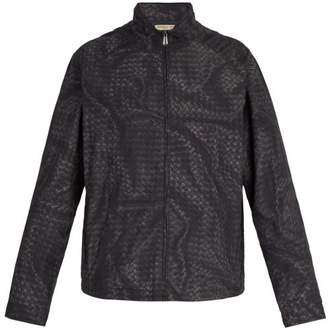 Bottega Veneta Intrecciato Print Windbreaker Jacket - Mens - Black