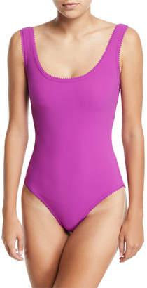 Karla Colletto Savile Scoop-Neck One-Piece Swimsuit with Underwire