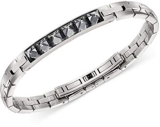 Swarovski Men Stainless Steel Gray Crystal Bangle Bracelet