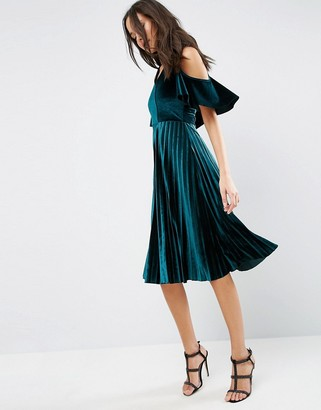 ASOS Cold Shoulder Velvet Pleated Midi Dress $61 thestylecure.com