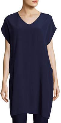 Eileen Fisher Plus Size Short Sleeve Crinkle Crepe Tunic
