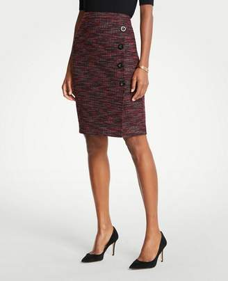 Ann Taylor Petite Tweed Side Button Pencil Skirt