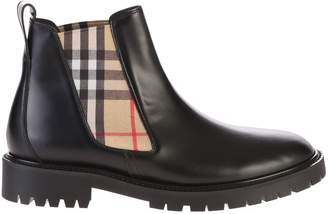 Burberry Black Checked Ankle Boots