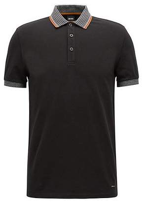 e4dac08ac20 at HUGO BOSS · HUGO BOSS Stretch-piqué polo shirt with houndstooth collar  and cuffs
