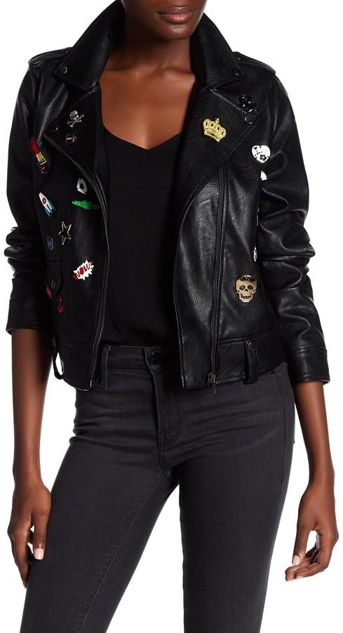 BagatelleBagatelle Faux Leather Pinned Moto Jacket