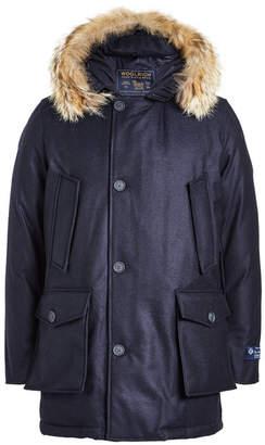 Woolrich Luxury Arctic Down Virgin Wool Parka with Fur-Trimmed Hood