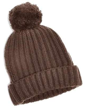 Corgi Big Pom Knit Cashmere Hat in Brown