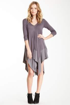Gracia 3/4 Sleeve Handkerchief Hem Dress