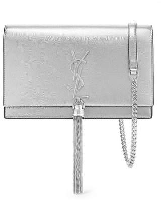 Saint Laurent Kate Small Textured-leather Shoulder Bag - Silver