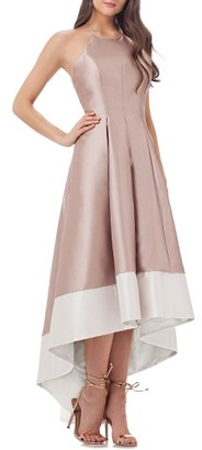 Women's Carmen Marc Valvo Infusion Embellished Colorblock Halter Gown $398 thestylecure.com