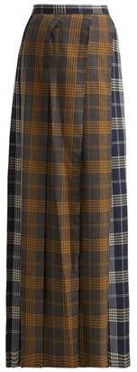 Vivienne Westwood Contrast Panel Checked Wool Skirt - Womens - Grey Multi
