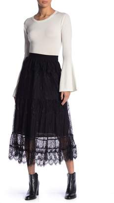 Moon River Lace Detail Pull On Skirt