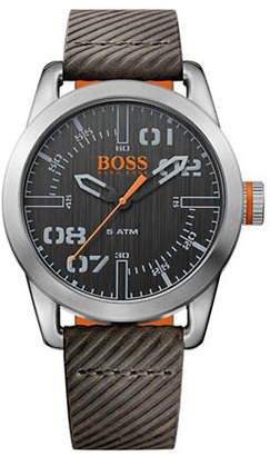 BOSS ORANGE Analog Oslo Stainless Steel and Leather Strap Watch