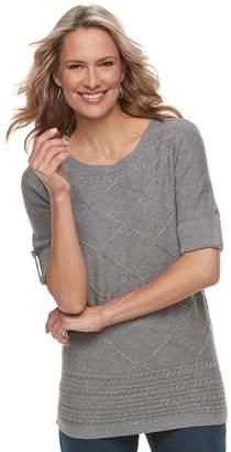 Croft & Barrow Women's Textured Roll-Tab Boatneck Sweater