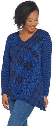 Susan Graver Printed Liquid Knit Top with Asymmetrical Hem