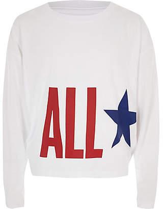 Converse Girls White 'All Star' print top