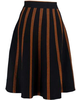 YSJ Women's Knitted Skirts A-Line Pleated Striped Midi Swing Skirt Petite (S, )
