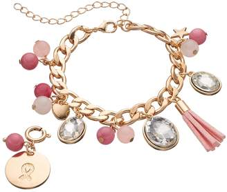 Loli Bijoux LOLI BIJOUX Breast Cancer Awareness Beaded Pink Ribbon Charm Bracelet