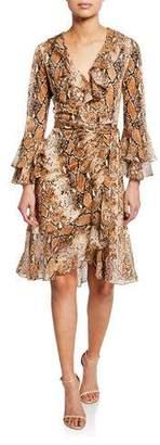 Diane von Furstenberg Carli Silk Tiered-Sleeve Ruffle Wrap Dress
