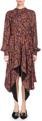 Proenza Schouler Long-Sleeve Tie-Waist Printed Georgette Dress w/ Asymmetric Hem