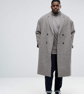 Asos DESIGN PLUS Wool Mix Drop Shoulder Overcoat in Puppy tooth