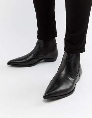 Asos Design DESIGN cuban heel western boots in black faux leather