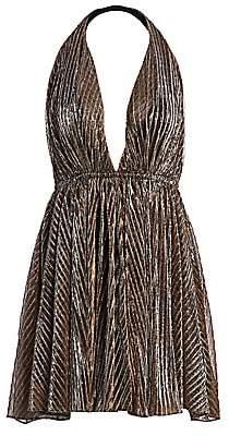 Saint Laurent Women's Lamé Halterneck Mini Dress