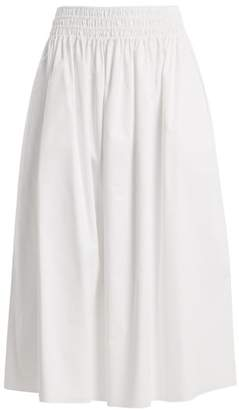 The Row Betsy Stretch Cotton Midi Skirt - Womens - White