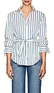 Derek Lam 10 Crosby Women's Striped Self-Tie Cotton Blouse - White