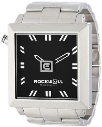 Rockwell Time Unisex FS102 50mm Squared Stainless Steel Silver and Black Watch