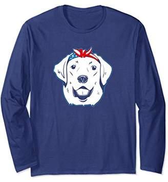Labrador Bandana 4th of July Long Sleeve American Flag Dog