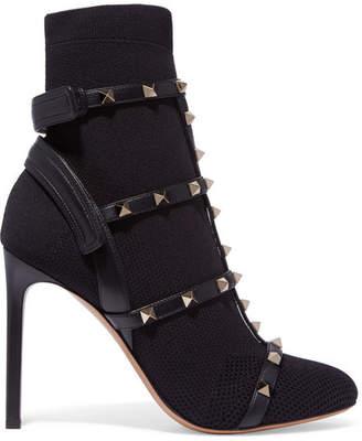 Valentino Garavani The Rockstud Leather-trimmed Stretch-knit Sock Boots