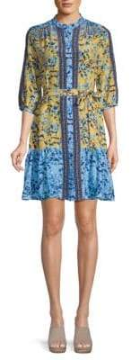 Saloni Belted Silk Fit-&-Flare Dress