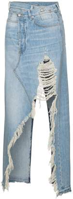 R 13 Harrow Distressed Denim Maxi Skirt