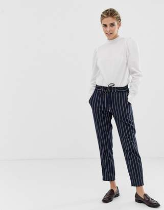 Esprit twill joggers in stripe navy and white