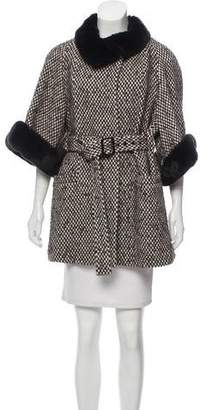 Armani Collezioni Fur-Trimmed Patterned Coat