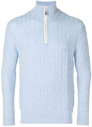 N.Peal cable half zip sweater