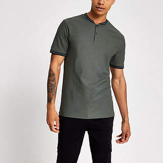 River Island Green slim fit baseball polo shirt