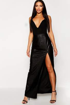 boohoo Sequin Thigh Split Maxi Skirt