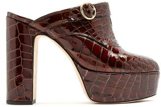 ALEXACHUNG Block-heel crocodile-effect leather platform mules