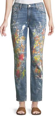 True Religion Cameron Slim Boyfriend Paint-Splatter Jeans