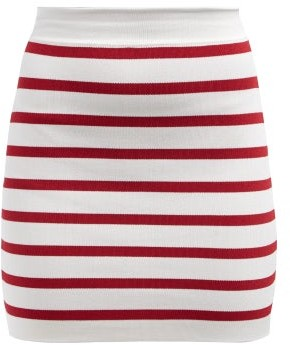 Balmain Striped Knitted Mini Skirt - Womens - Red White